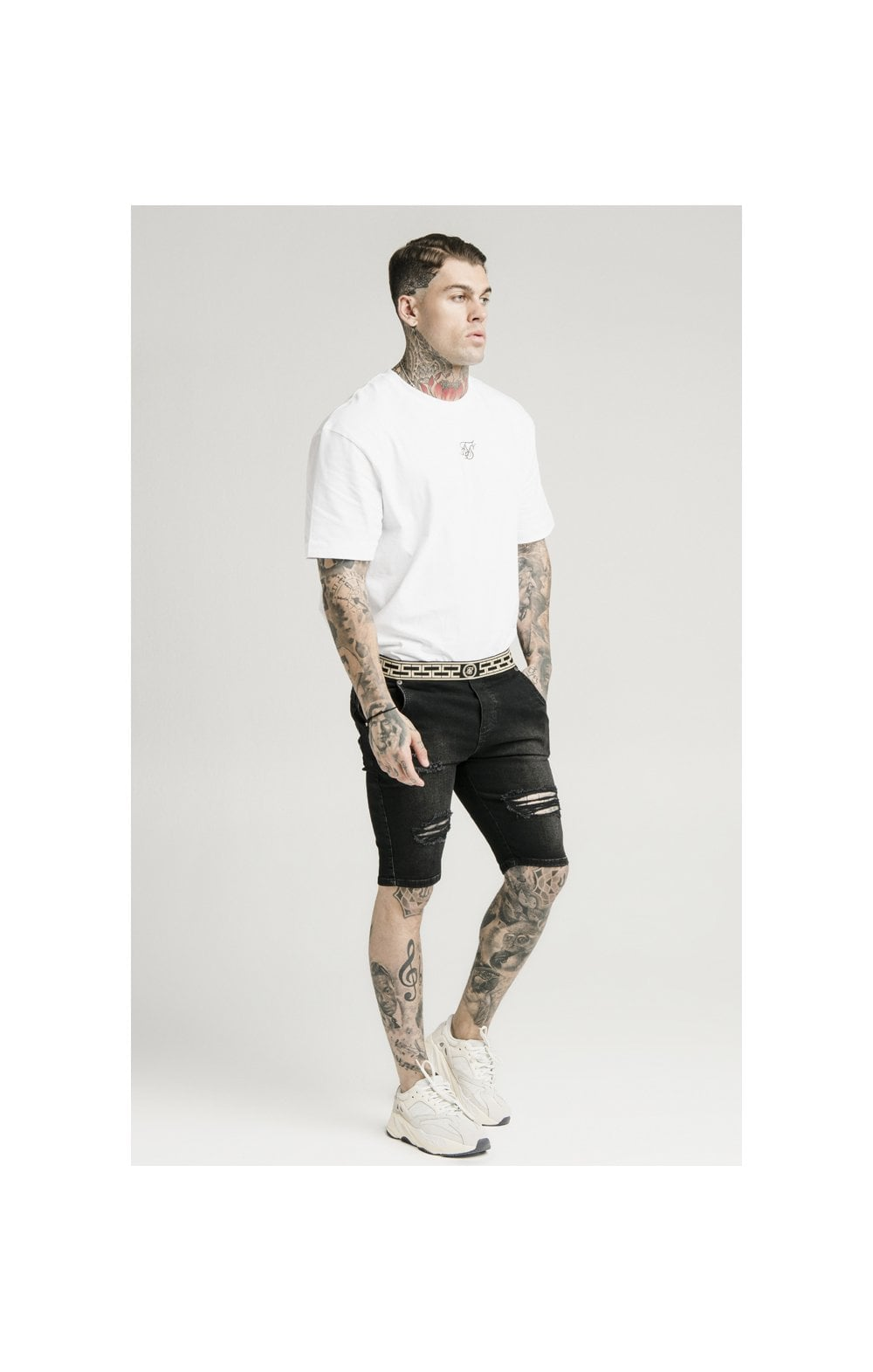 SikSilk Elasticated Waist Distressed Denim Shorts – Black (4)