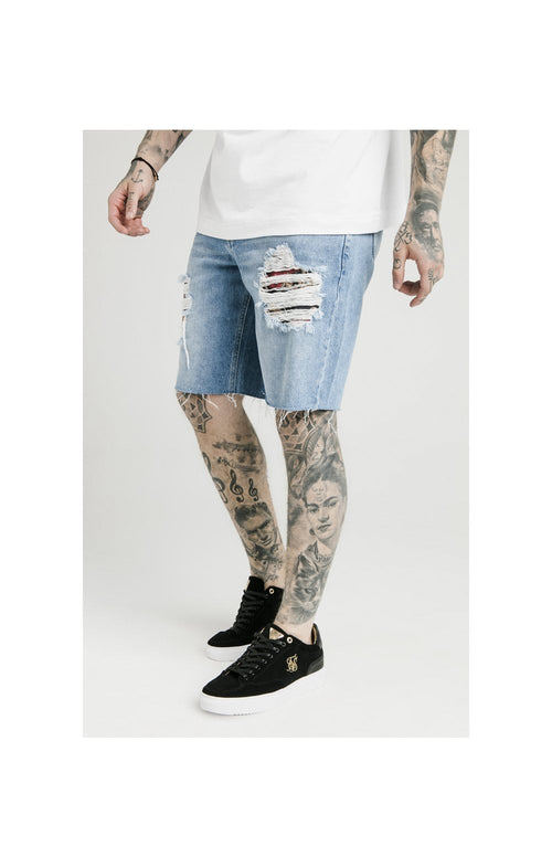 SikSilk Loose Fit Denim Shorts - Stonewash