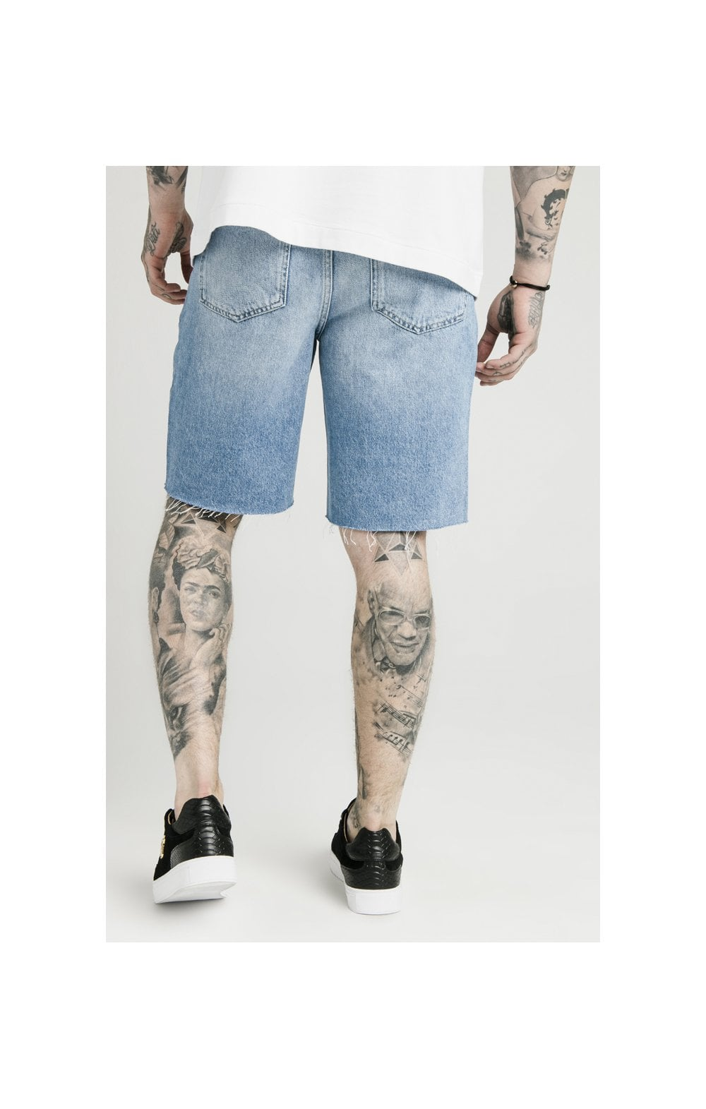 SikSilk Loose Fit Denim Shorts - Stonewash (3)