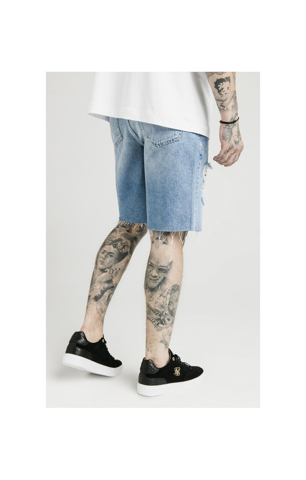 SikSilk Loose Fit Denim Shorts - Stonewash (4)