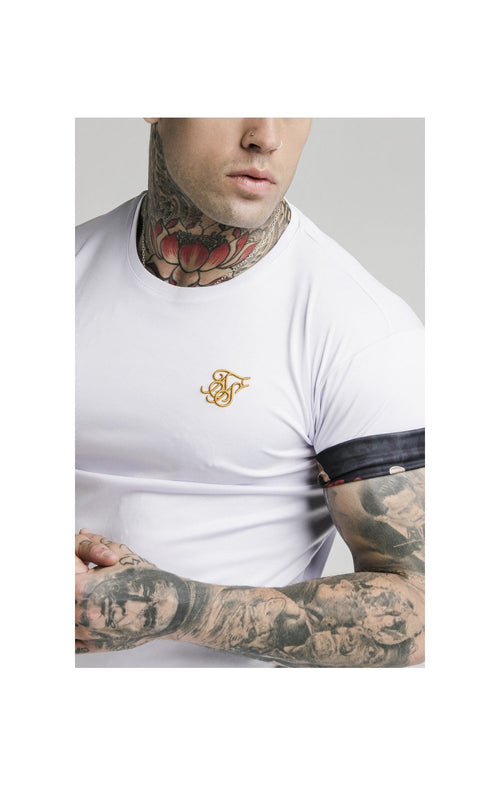 SikSilk S/S Roll Sleeve Tee – White & Floral Animal