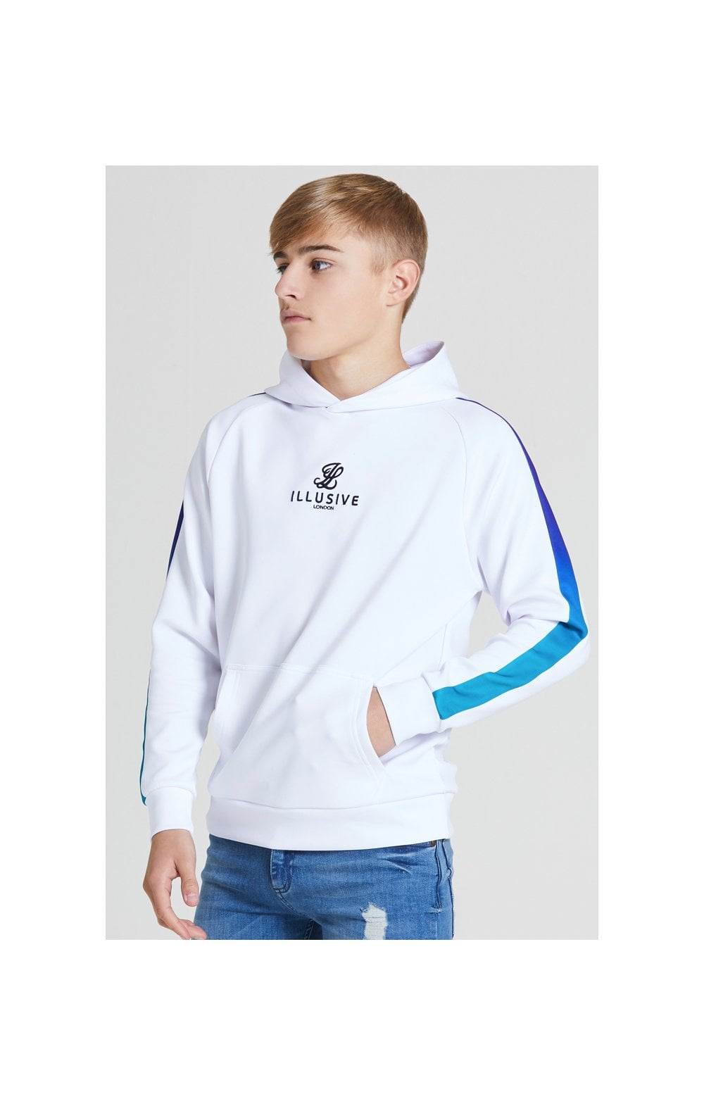 Illusive London Fade Panel Overhead Hoodie - White , Purple & Teal Green