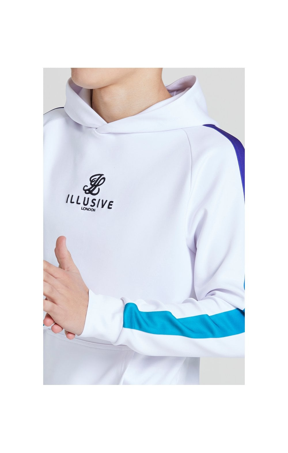 Illusive London Fade Panel Overhead Hoodie - White , Purple & Teal Green (1)