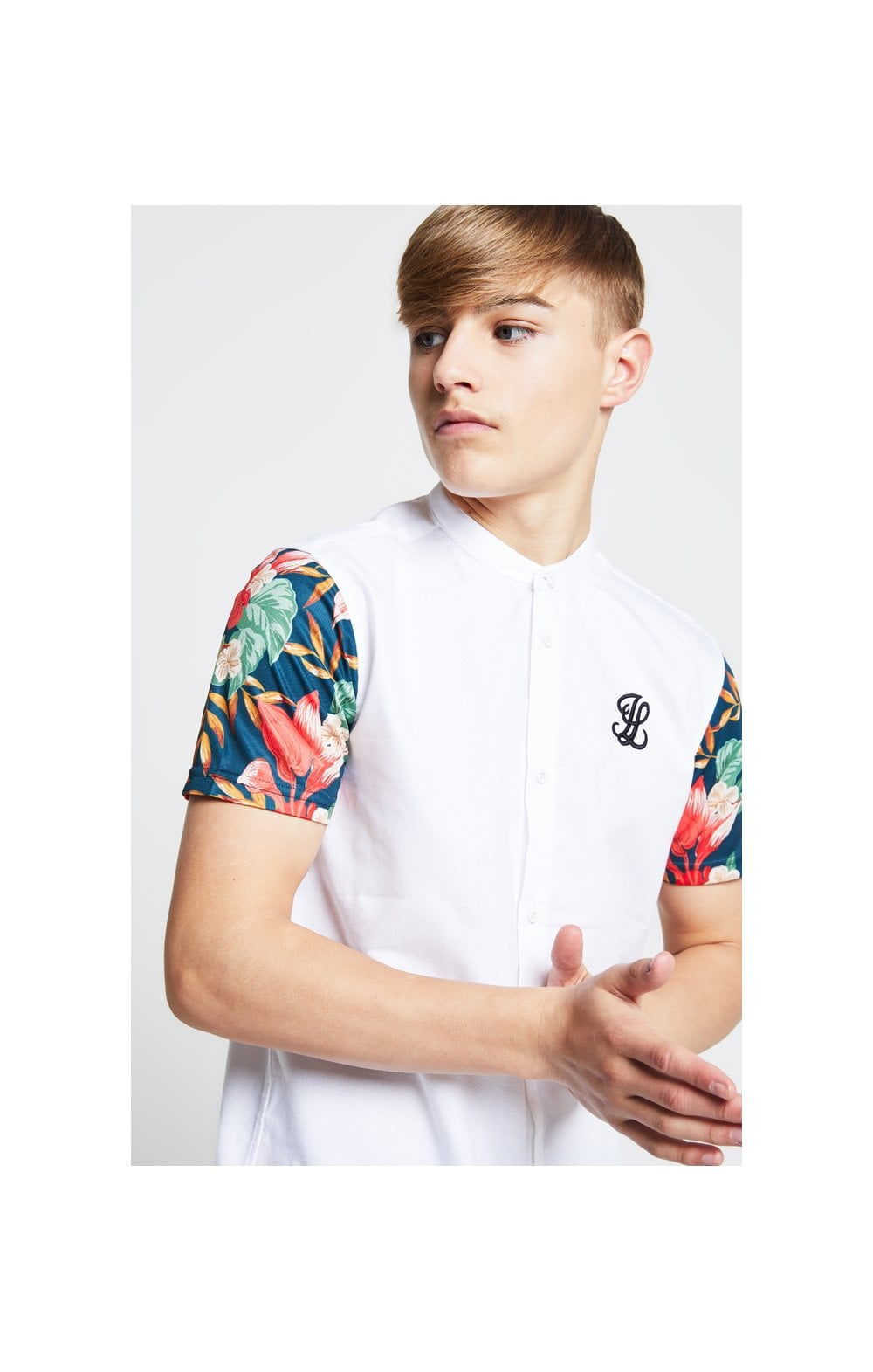 Illusive London Contrast Sleeve Grandad Collar Shirt – White & Tropical Leaf