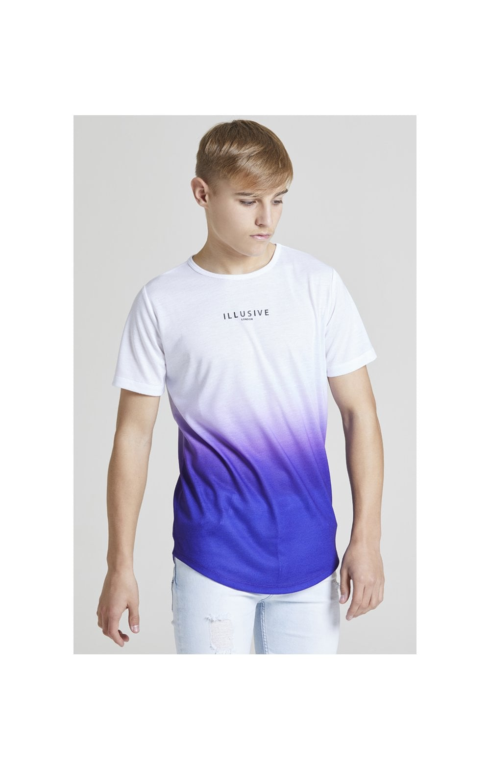 Load image into Gallery viewer, Illusive London Core Fade Tee – White & Purple (1)
