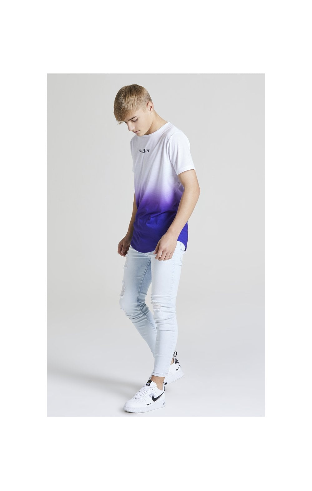 Load image into Gallery viewer, Illusive London Core Fade Tee – White & Purple (2)