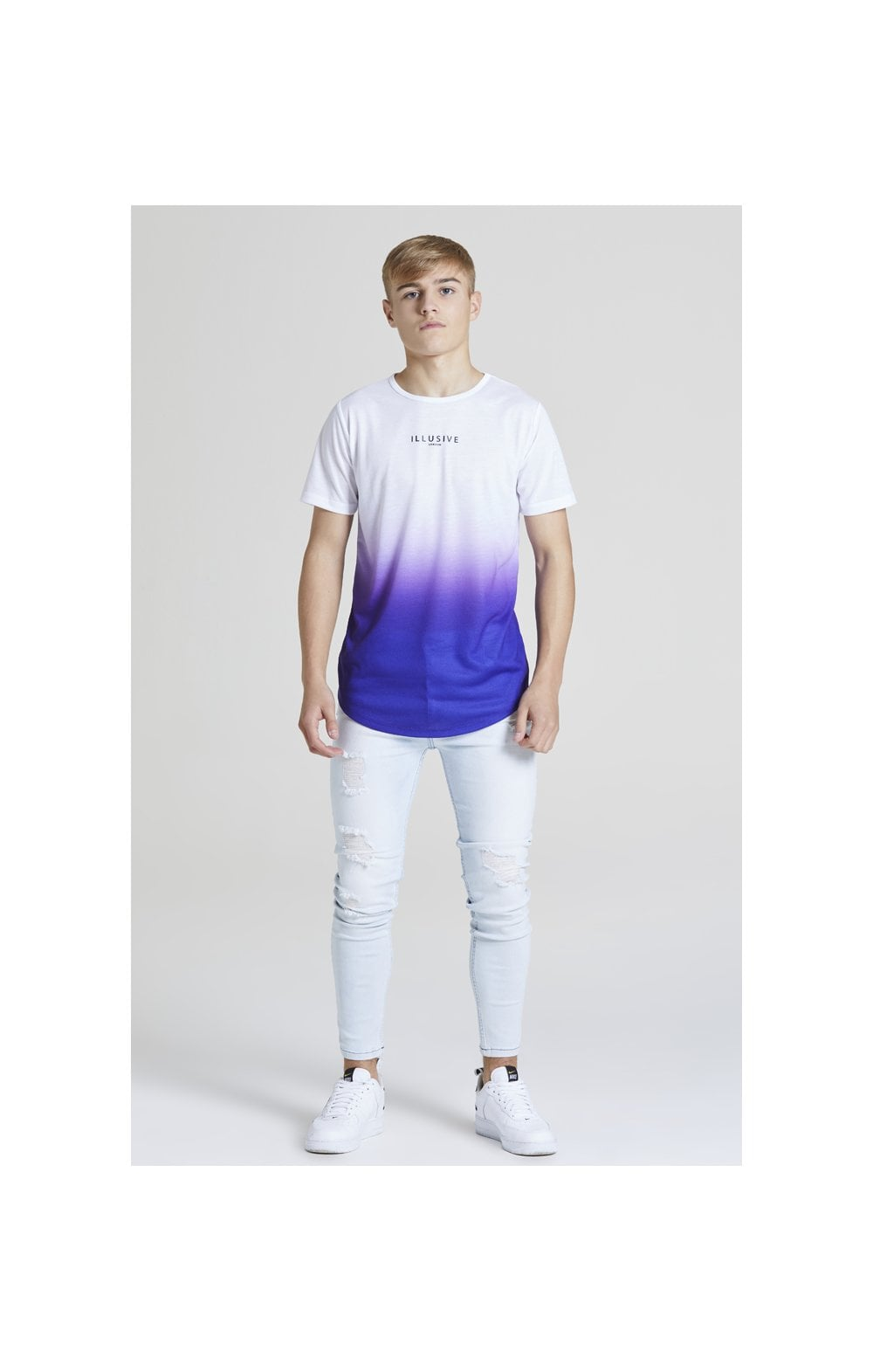Load image into Gallery viewer, Illusive London Core Fade Tee – White & Purple (4)