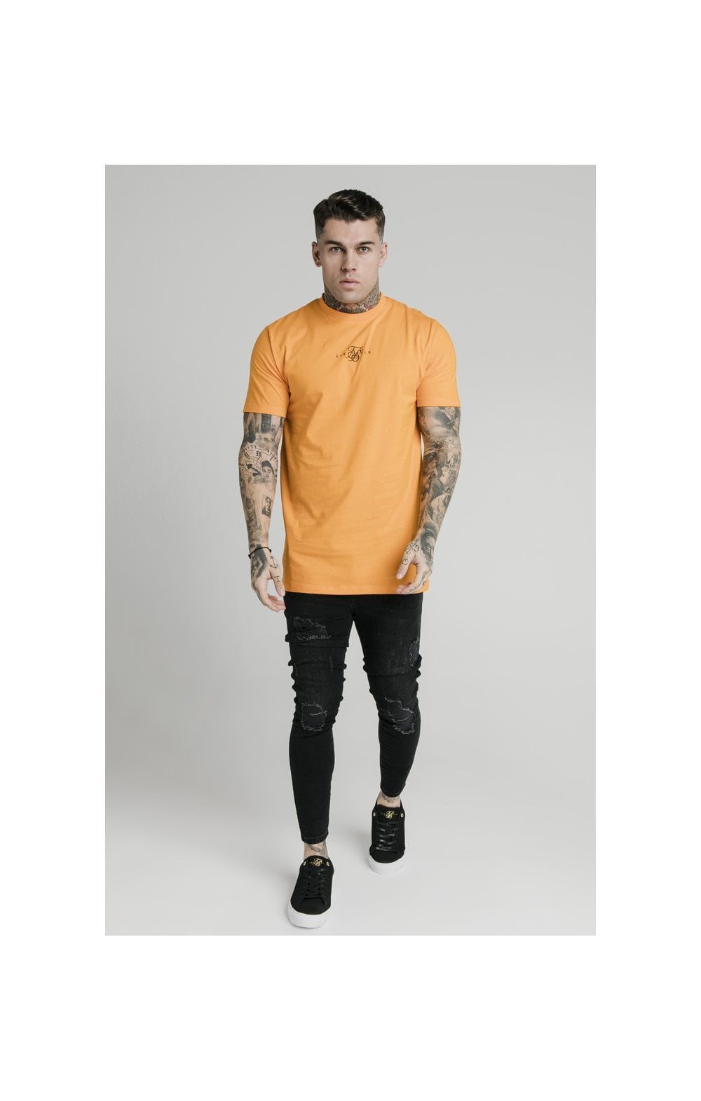 SikSilk S/S Square Hem Tee – Orange (1)