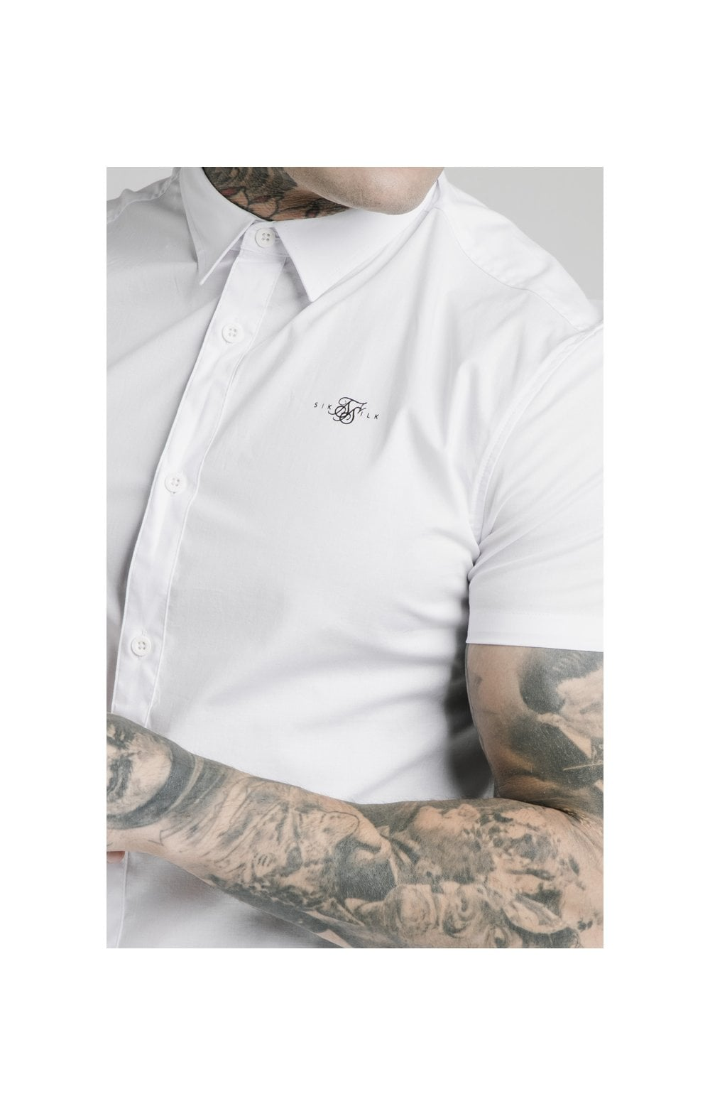 SikSilk S/S Standard Collar Shirt - White