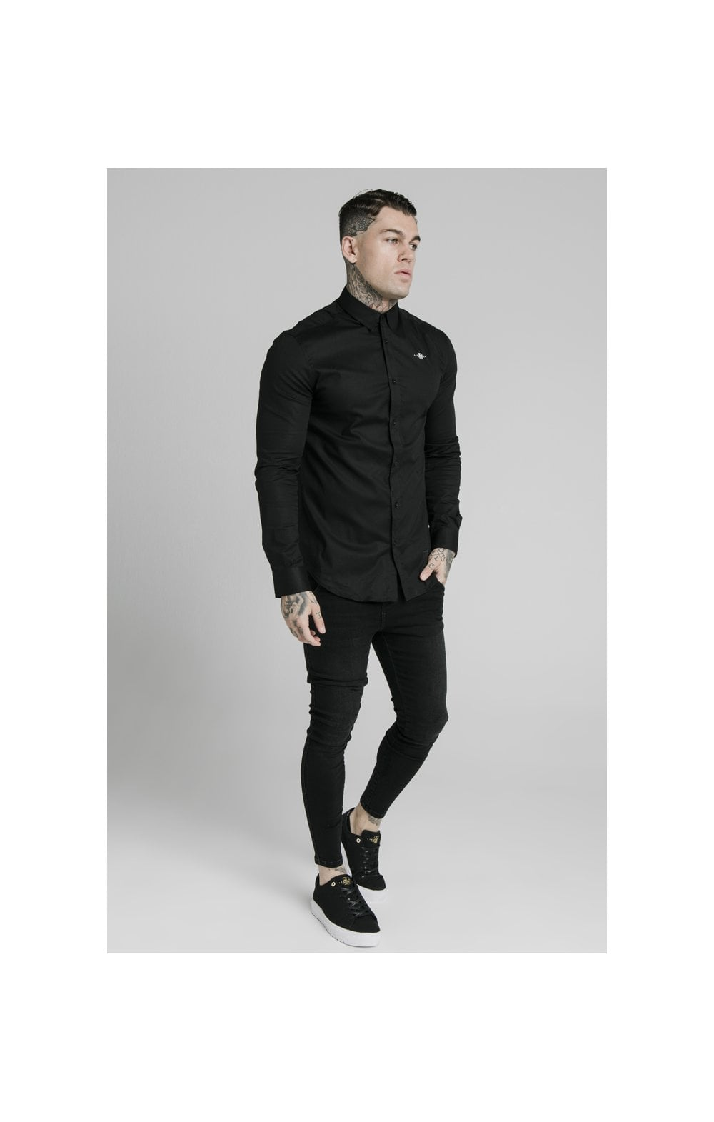 Load image into Gallery viewer, SikSilk L/S Standard Collar Shirt - Black (1)