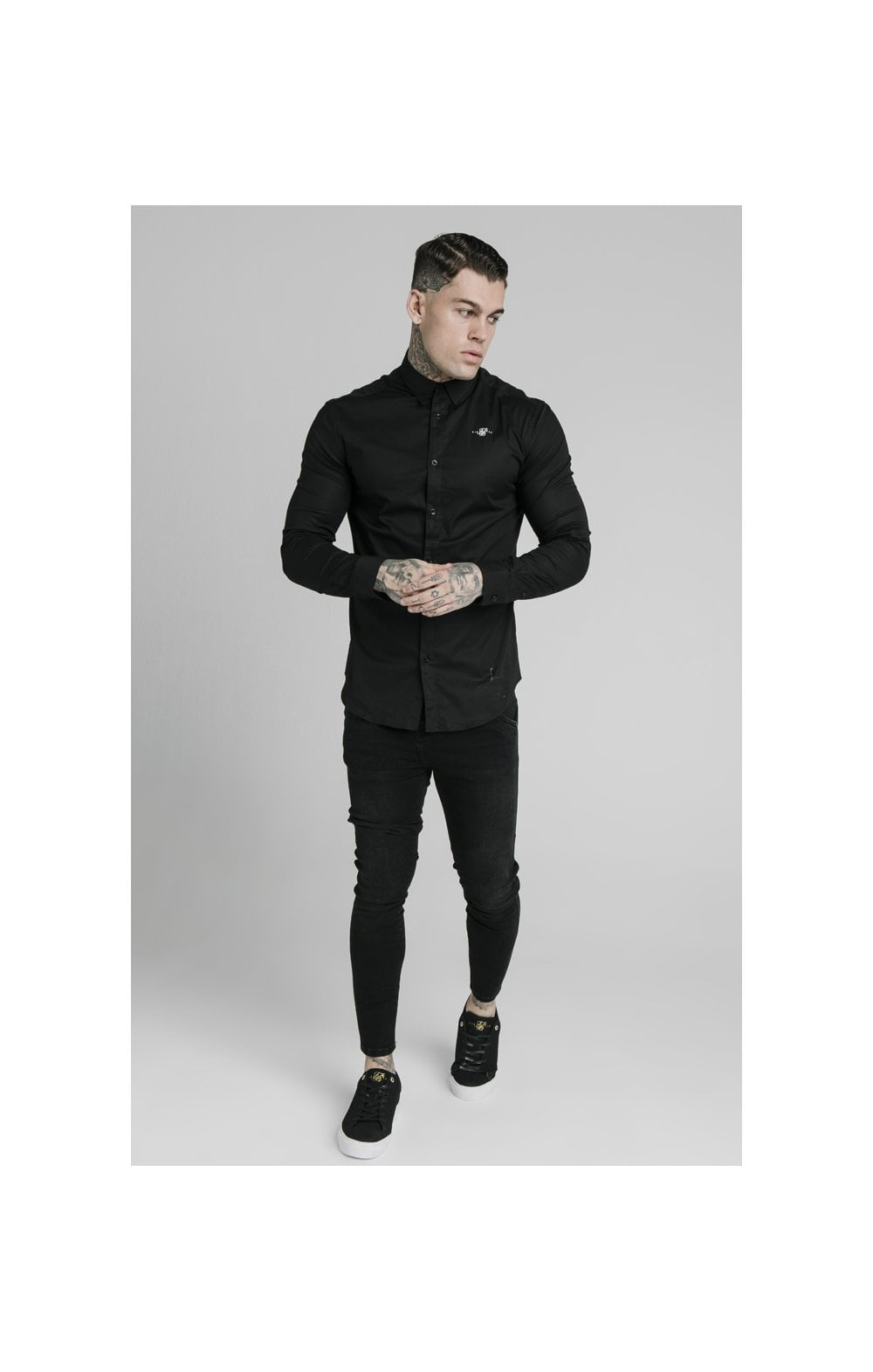 Load image into Gallery viewer, SikSilk L/S Standard Collar Shirt - Black (2)