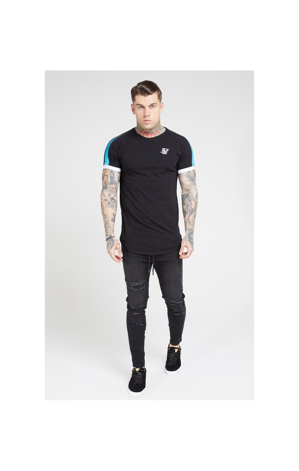 SikSilk S/S Inset Cuff Fade Panel Tech Tee – Black & Teal (1)