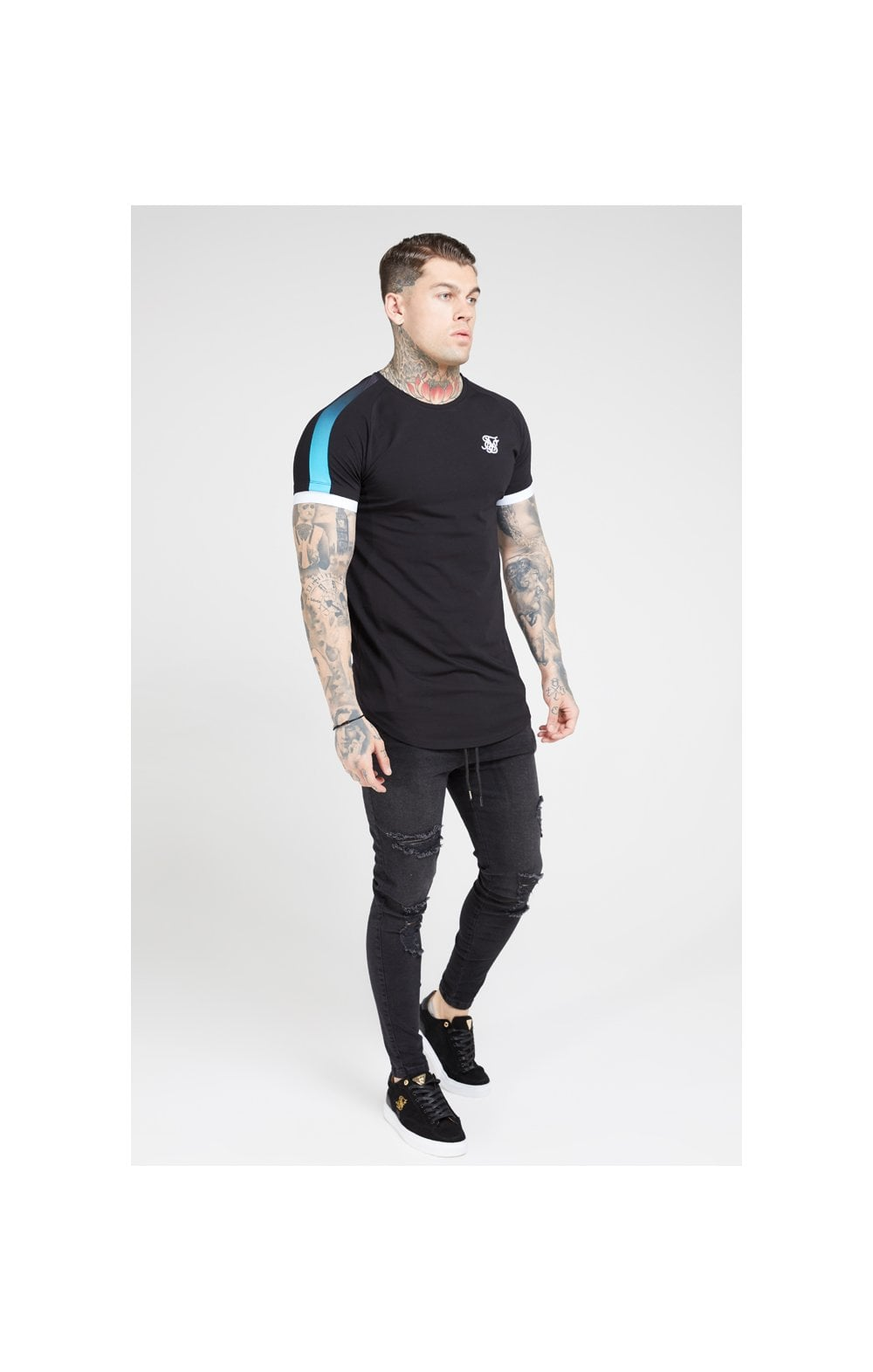 SikSilk S/S Inset Cuff Fade Panel Tech Tee – Black & Teal (2)