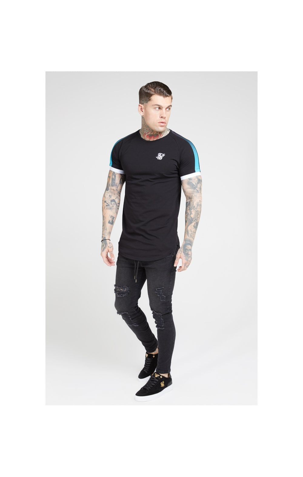 SikSilk S/S Inset Cuff Fade Panel Tech Tee – Black & Teal (3)