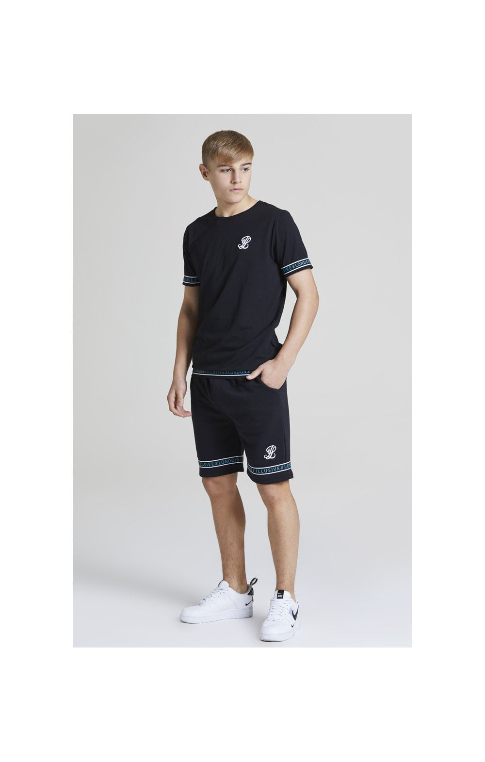 Illusive London Branded Jersey Shorts - Black & Teal Green (2)