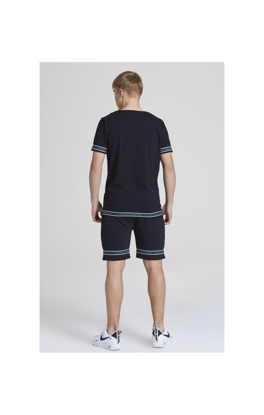 Illusive London Branded Jersey Shorts - Black & Teal Green (4)