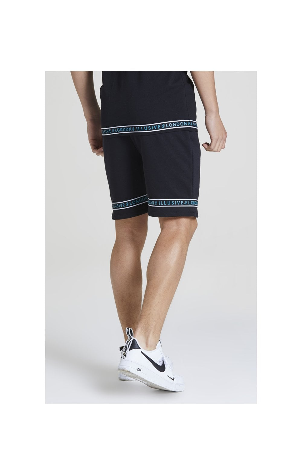 Illusive London Branded Jersey Shorts - Black & Teal Green (1)