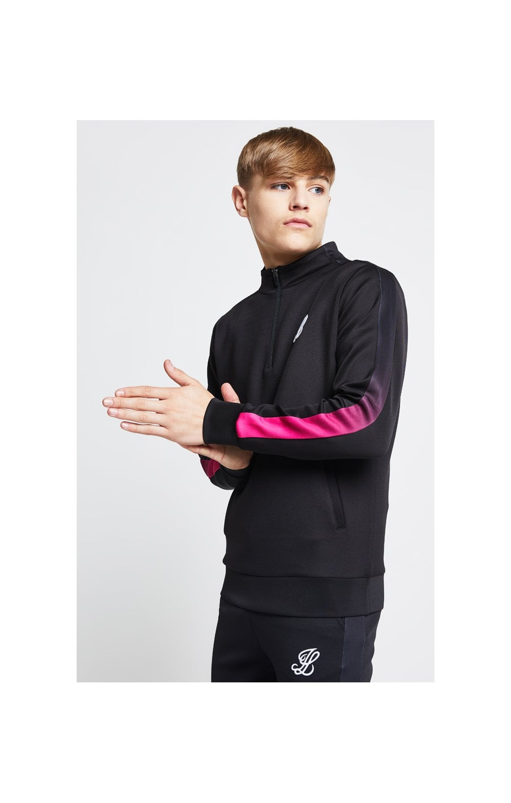 Load image into Gallery viewer, Illusive London Fade Panel Funnel Neck 1/4 Zip Hoodie - Black & Pink