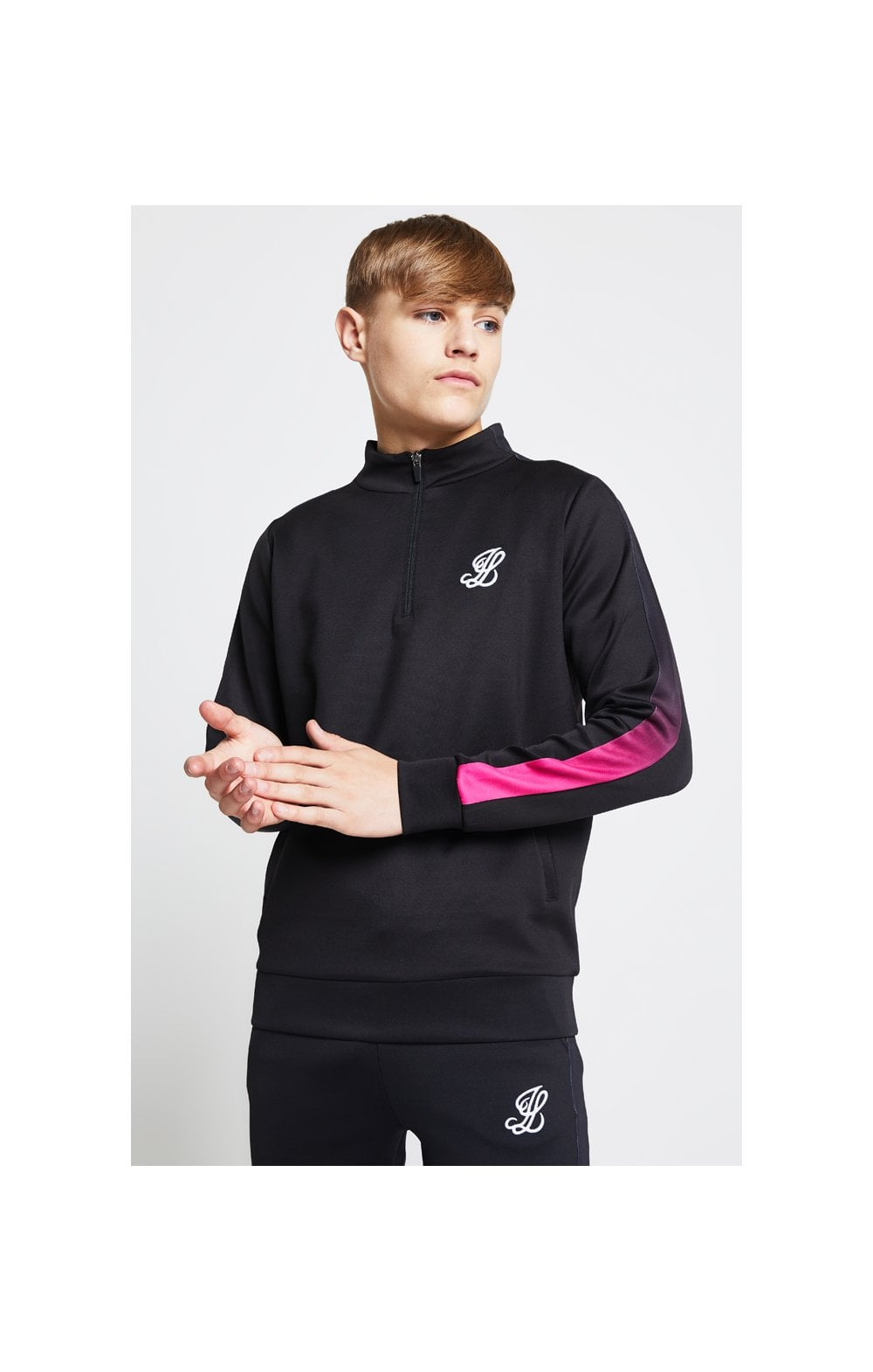 Load image into Gallery viewer, Illusive London Fade Panel Funnel Neck 1/4 Zip Hoodie - Black & Pink (1)