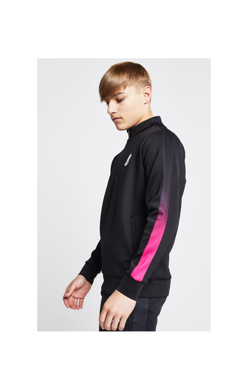 Load image into Gallery viewer, Illusive London Fade Panel Funnel Neck 1/4 Zip Hoodie - Black & Pink (2)