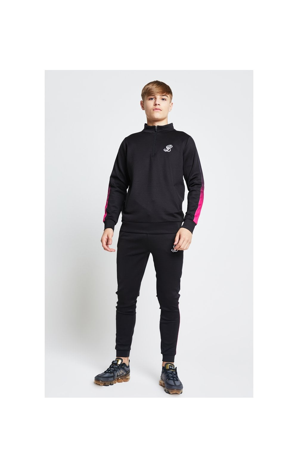Load image into Gallery viewer, Illusive London Fade Panel Funnel Neck 1/4 Zip Hoodie - Black & Pink (3)