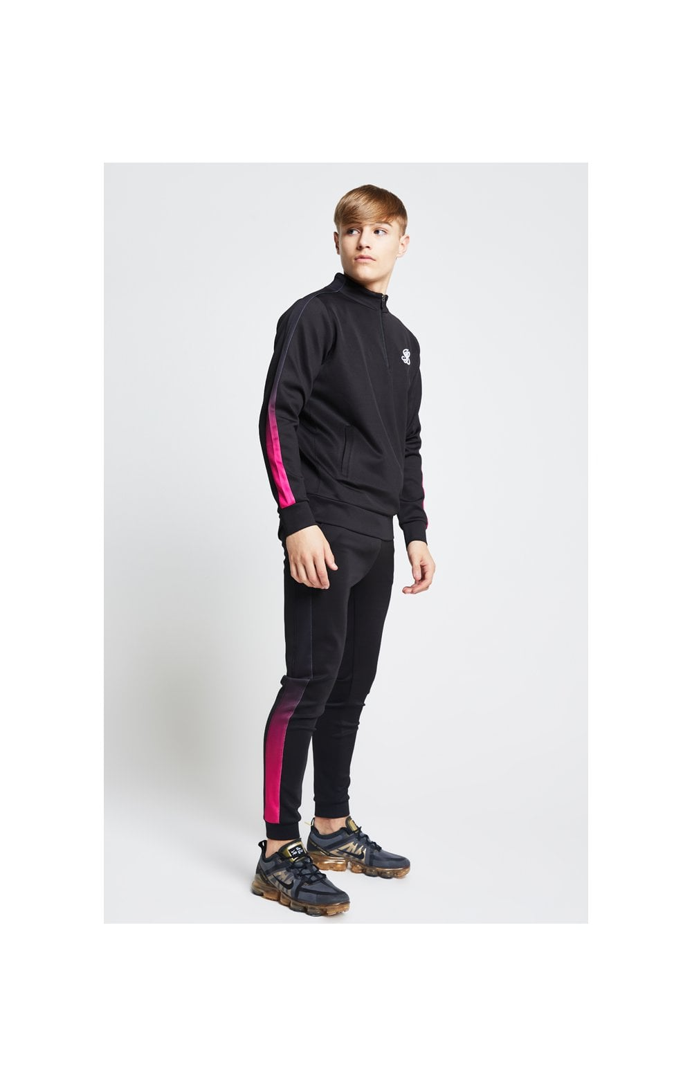 Load image into Gallery viewer, Illusive London Fade Panel Funnel Neck 1/4 Zip Hoodie - Black & Pink (4)