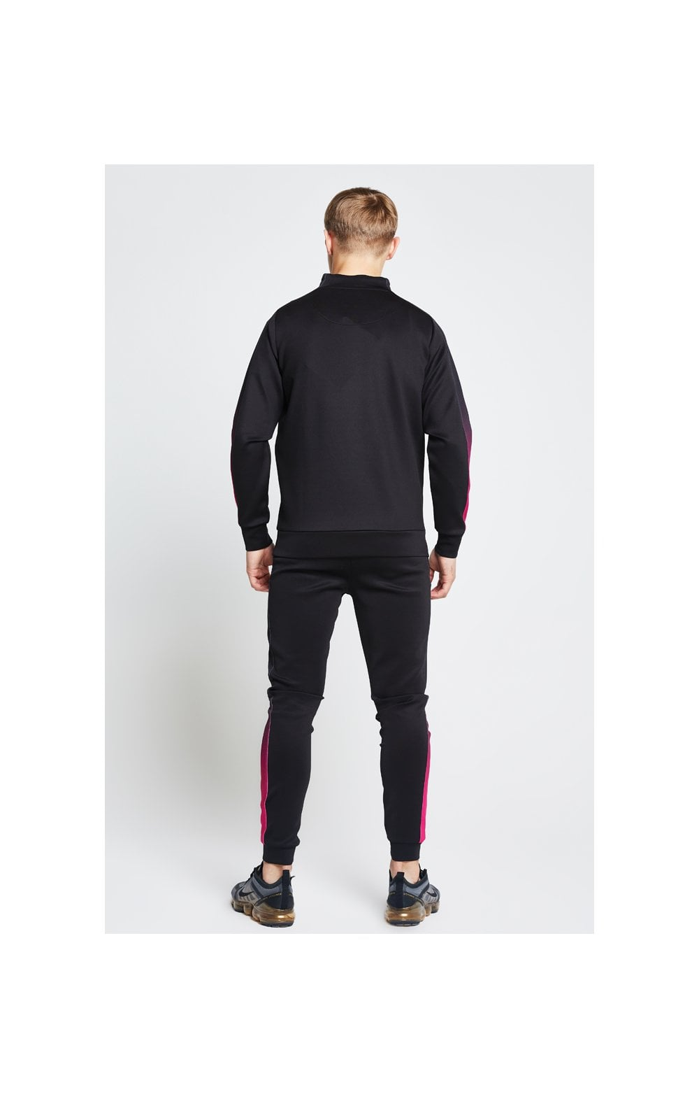Load image into Gallery viewer, Illusive London Fade Panel Funnel Neck 1/4 Zip Hoodie - Black & Pink (6)