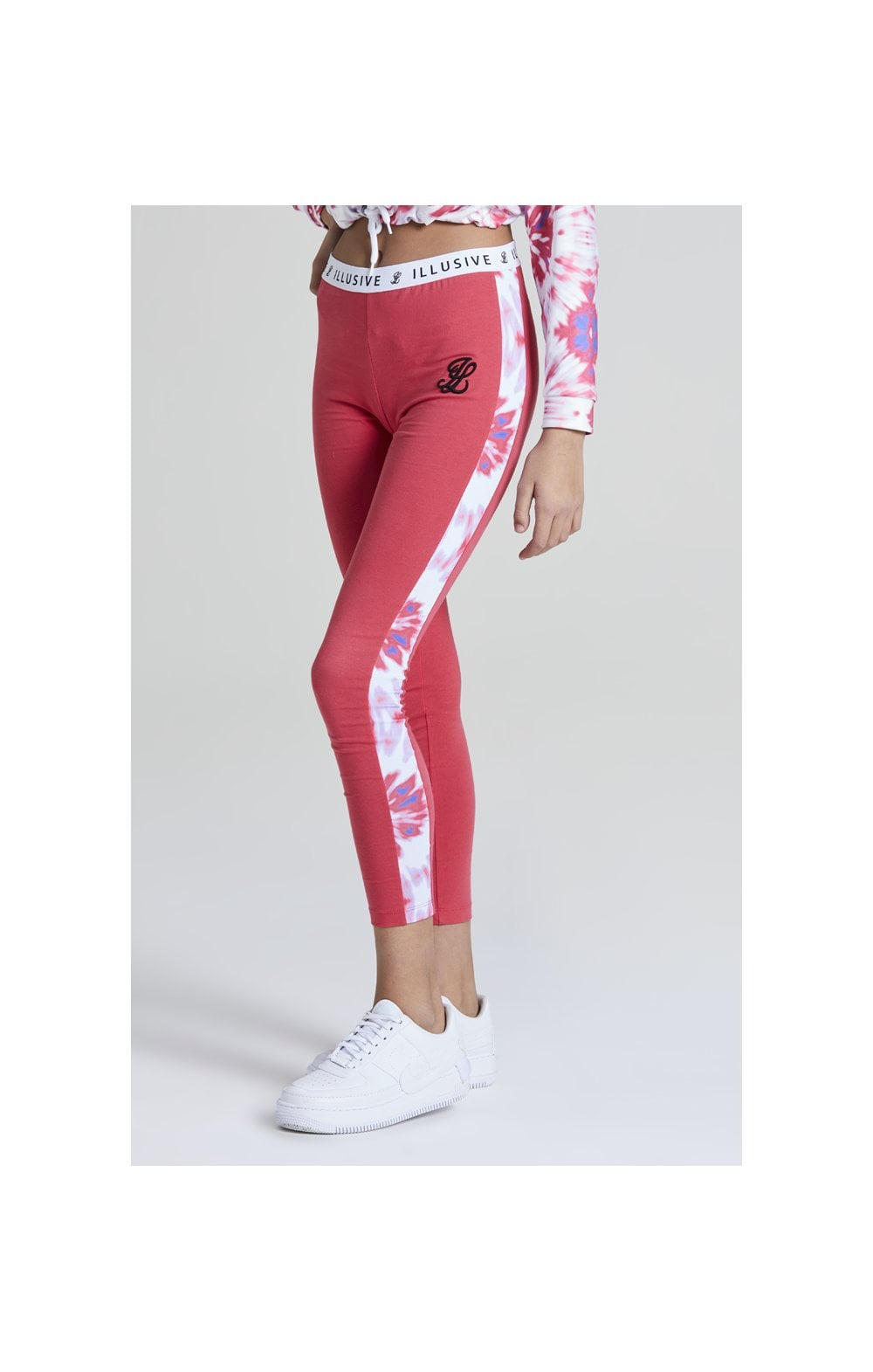 Illusive London Tie Dye Panelled Leggings – Pink