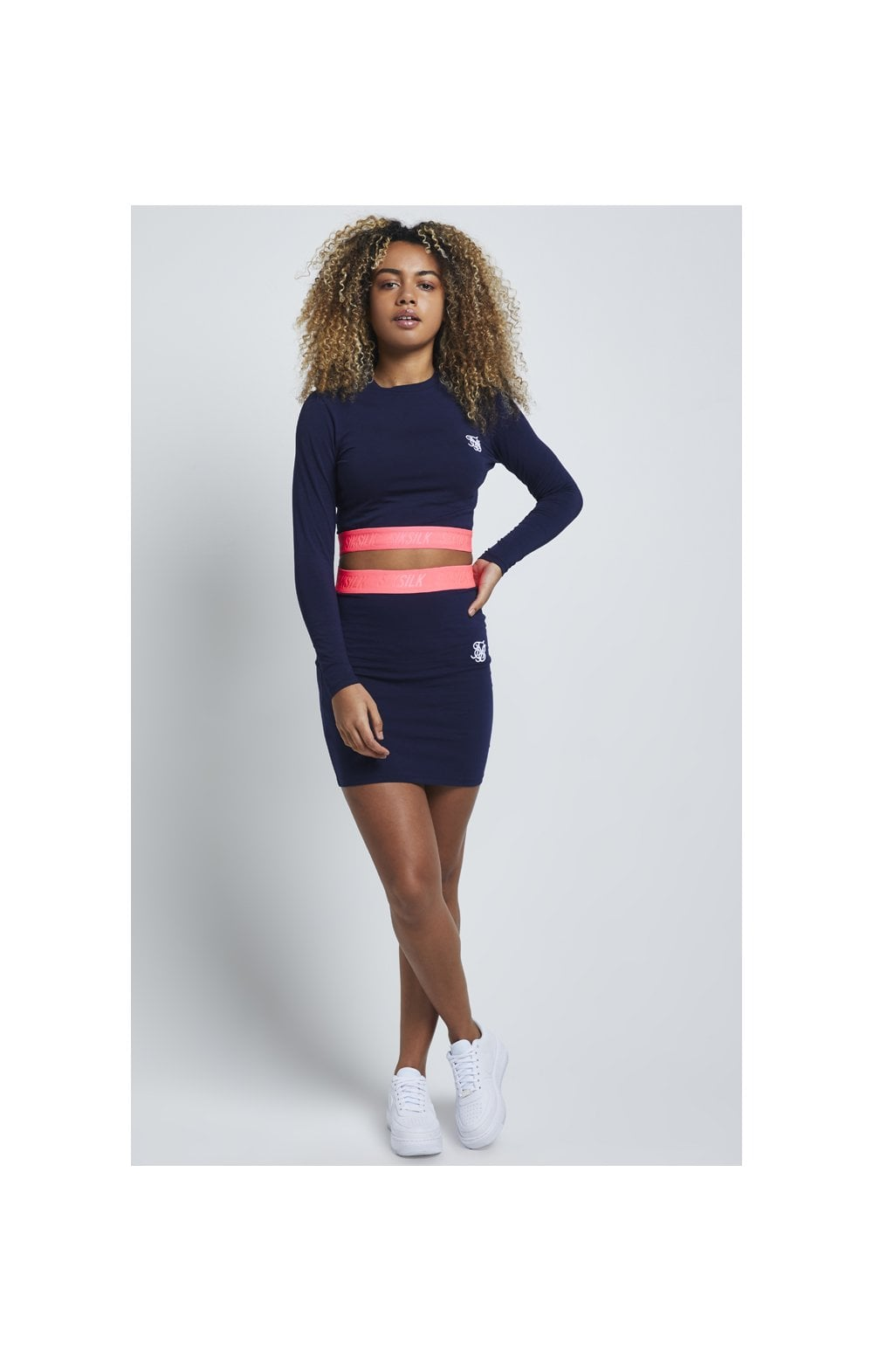 Load image into Gallery viewer, SikSillk Neon Tape Tube Skirt – Navy (2)