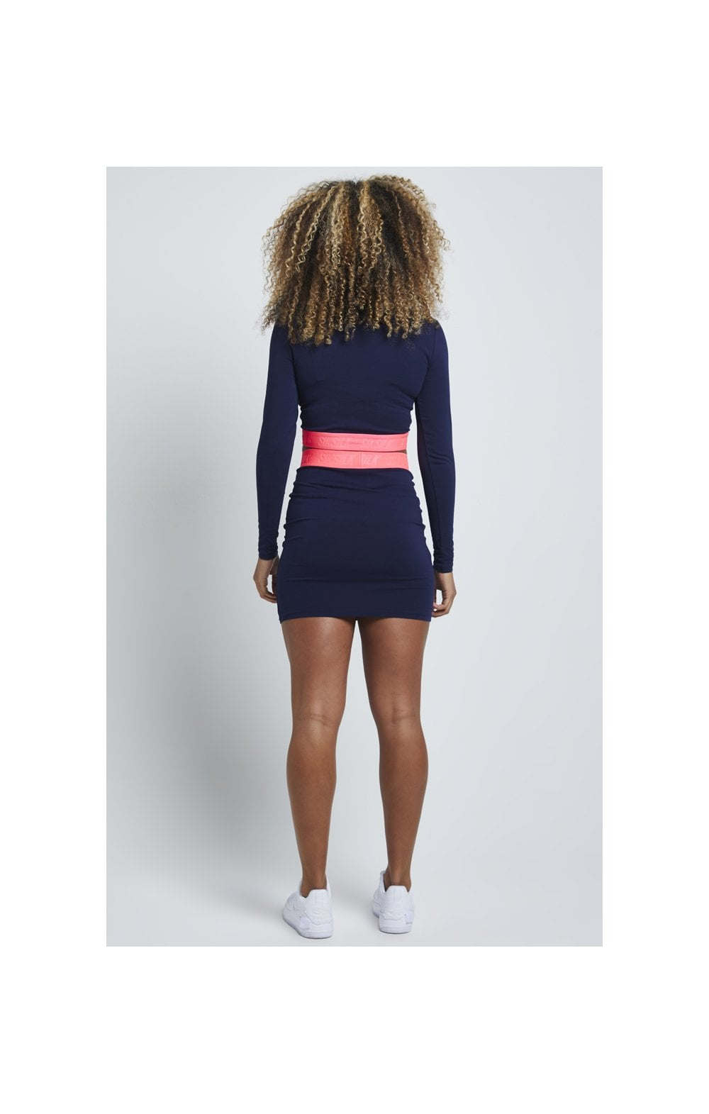 Load image into Gallery viewer, SikSillk Neon Tape Tube Skirt – Navy (4)