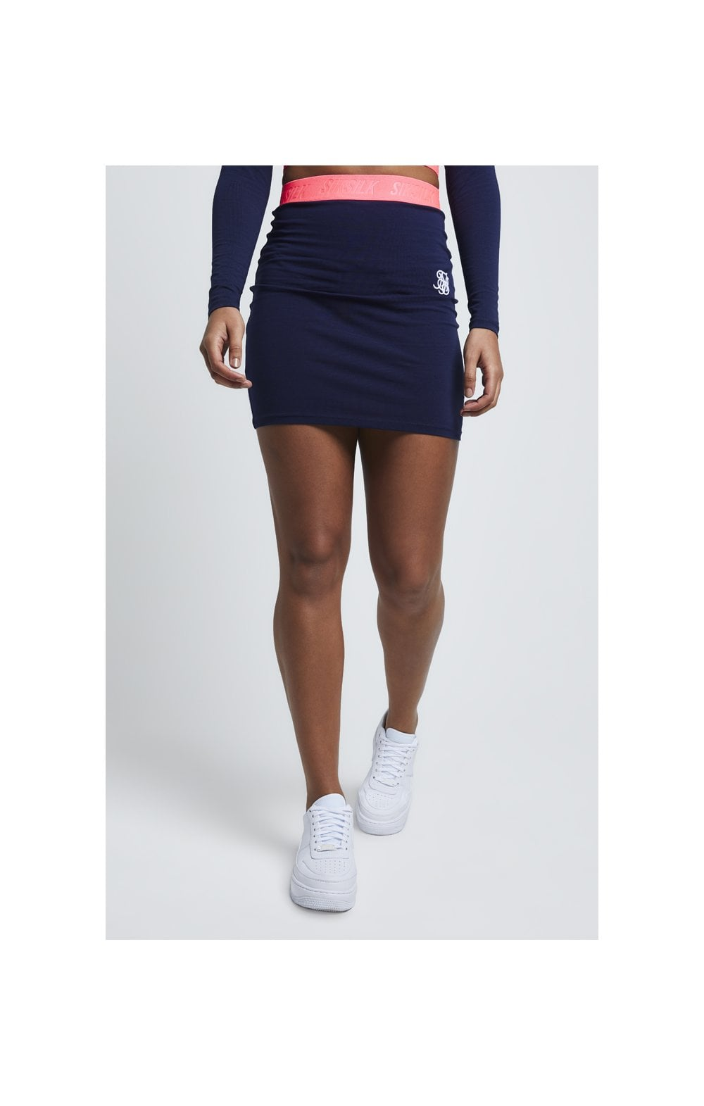 Load image into Gallery viewer, SikSillk Neon Tape Tube Skirt – Navy (5)