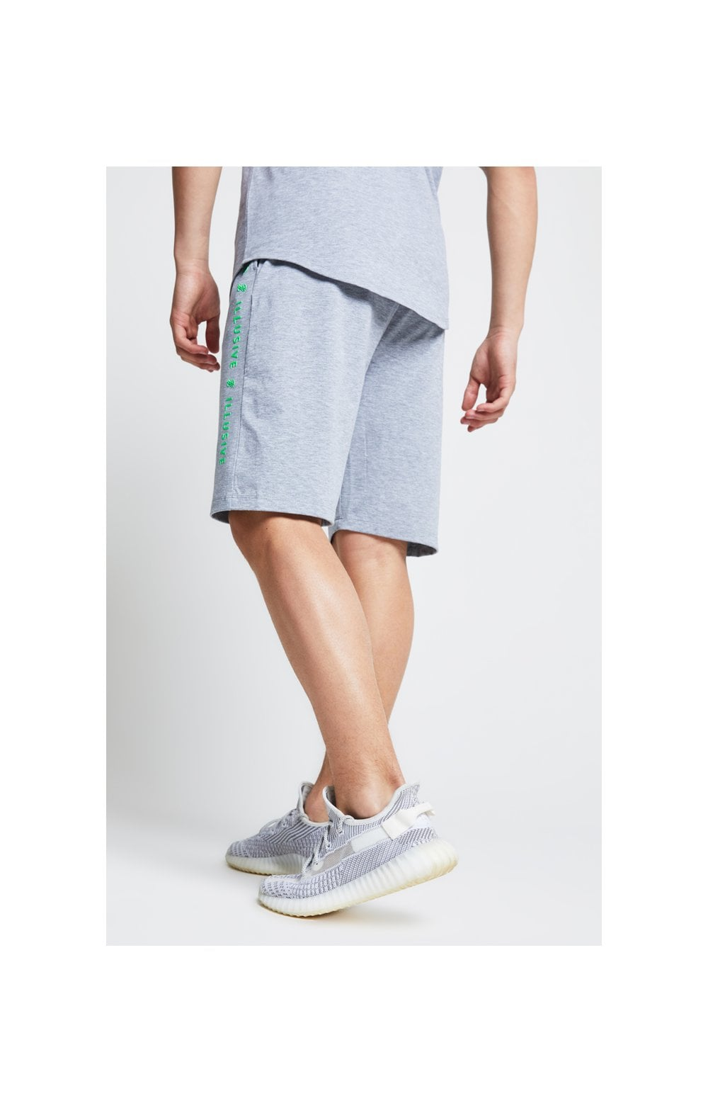 Illusive London Tape Jersey Shorts - Grey & Neon Green (1)