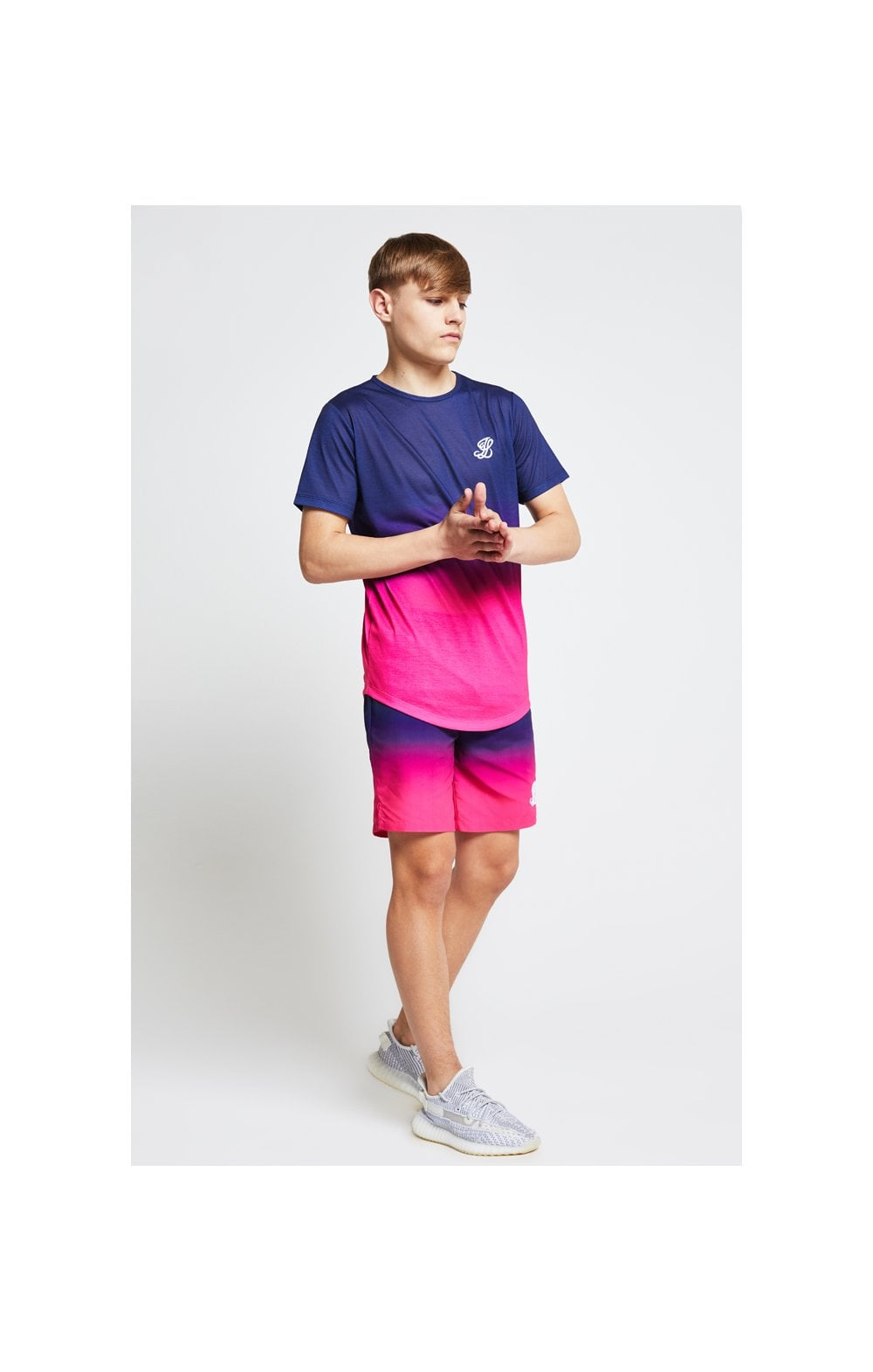 Load image into Gallery viewer, Illusive London Fade Tee - Navy & Pink (4)