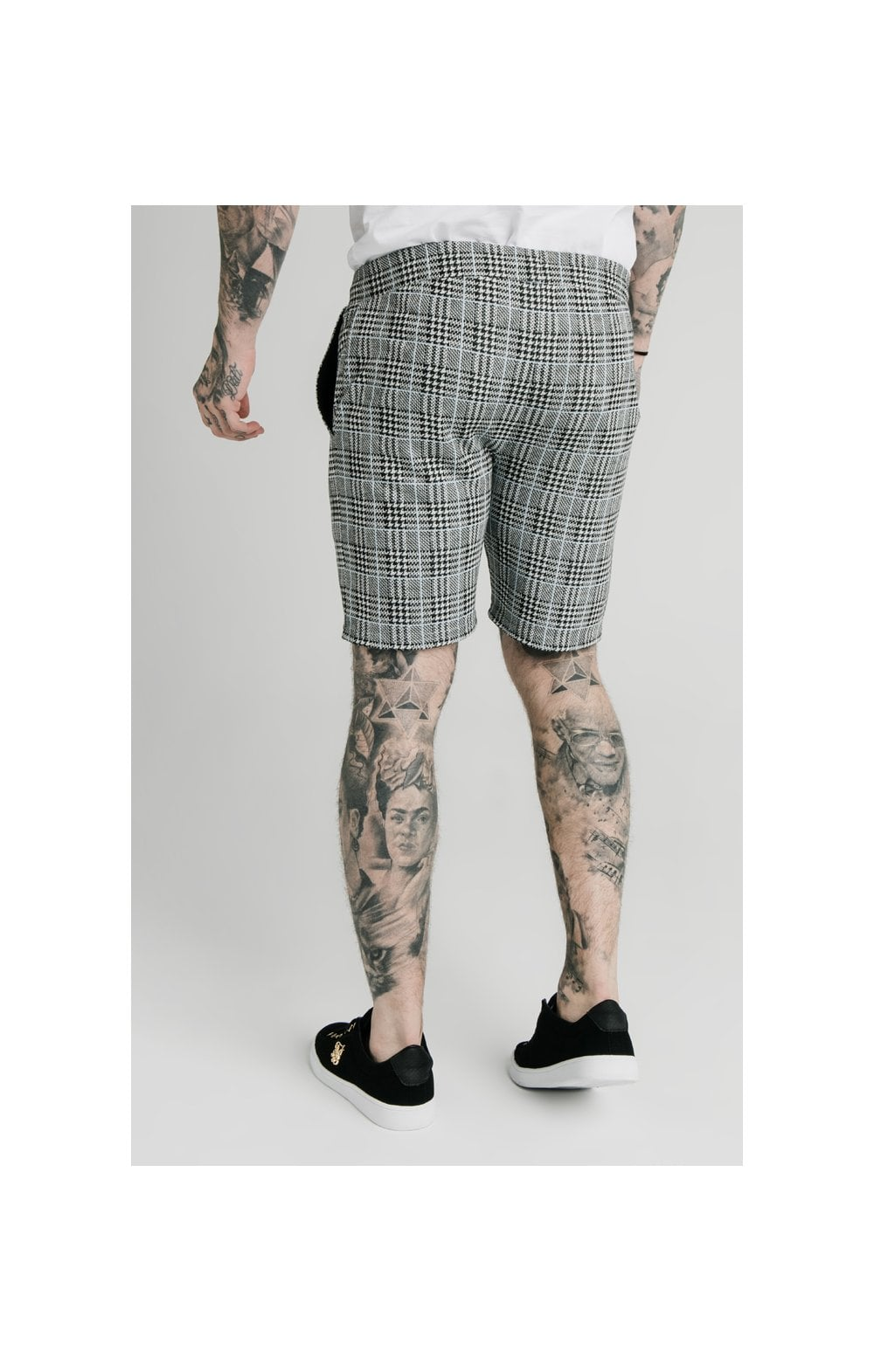 SikSilk Pleated Smart Shorts – Grey Dogtooth (2)