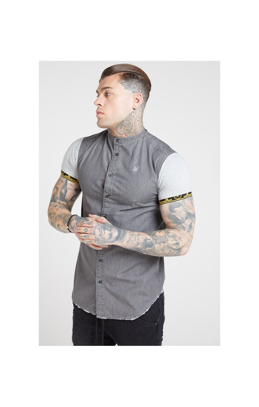 Load image into Gallery viewer, SikSilk S/S Denim Shirt – Grey (1)
