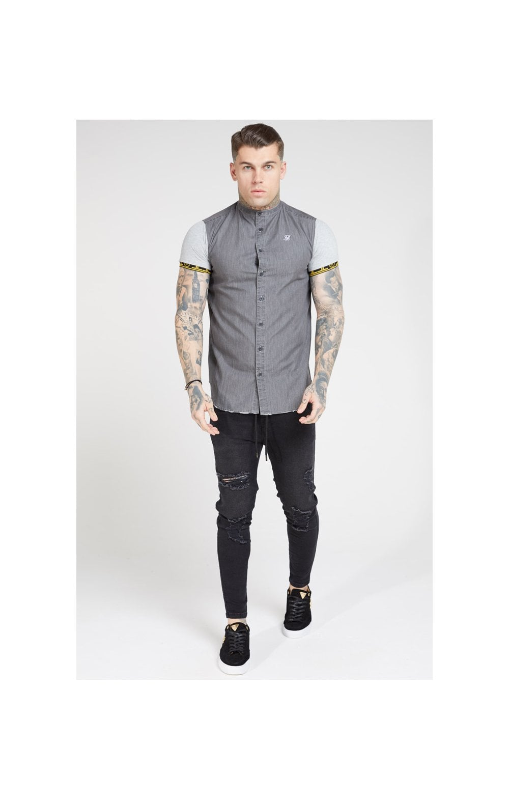 Load image into Gallery viewer, SikSilk S/S Denim Shirt – Grey (2)