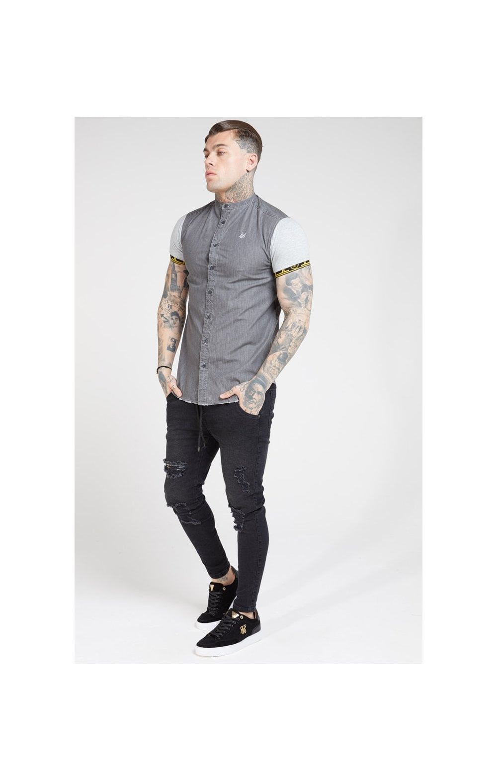 Load image into Gallery viewer, SikSilk S/S Denim Shirt – Grey (3)