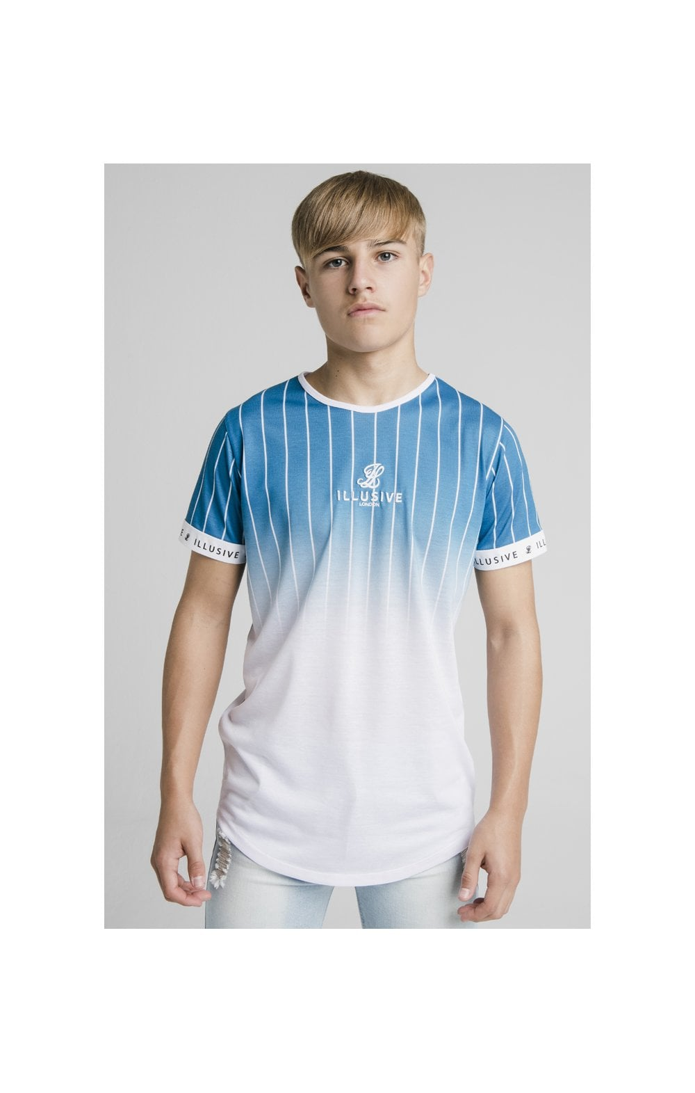 Illusive London Fade Stripe Tech Tee - Teal & White