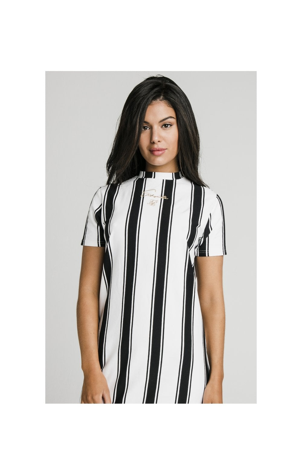 SikSilk Athena Stripe T-Shirt Dress - Black & White