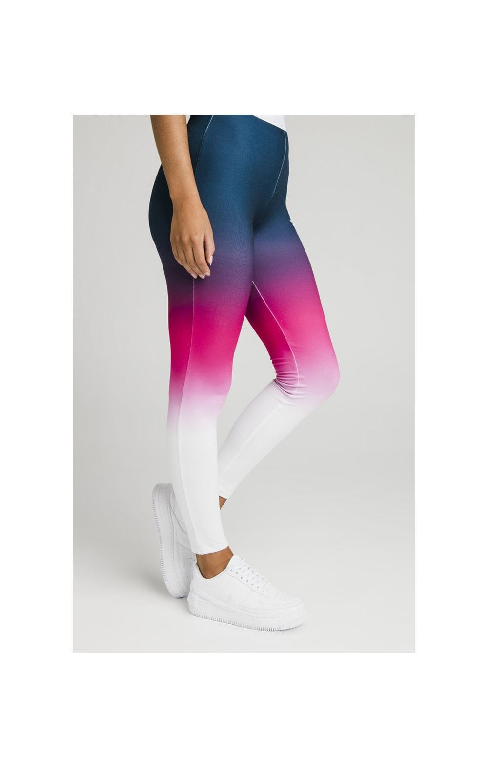 Load image into Gallery viewer, SikSilk Fade Tape Leggings - Navy, Pink & White (1)