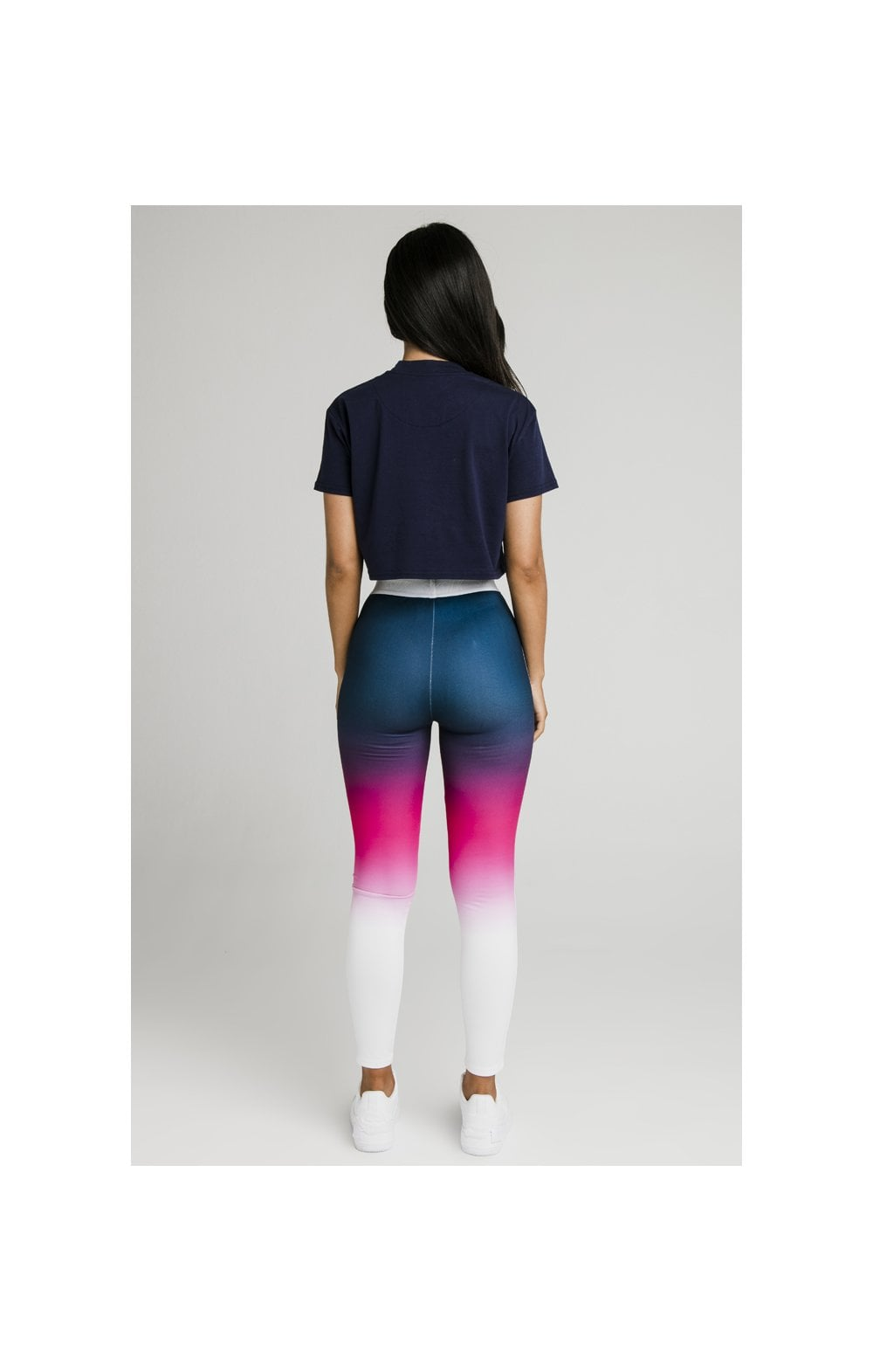 Load image into Gallery viewer, SikSilk Fade Tape Leggings - Navy, Pink & White (5)