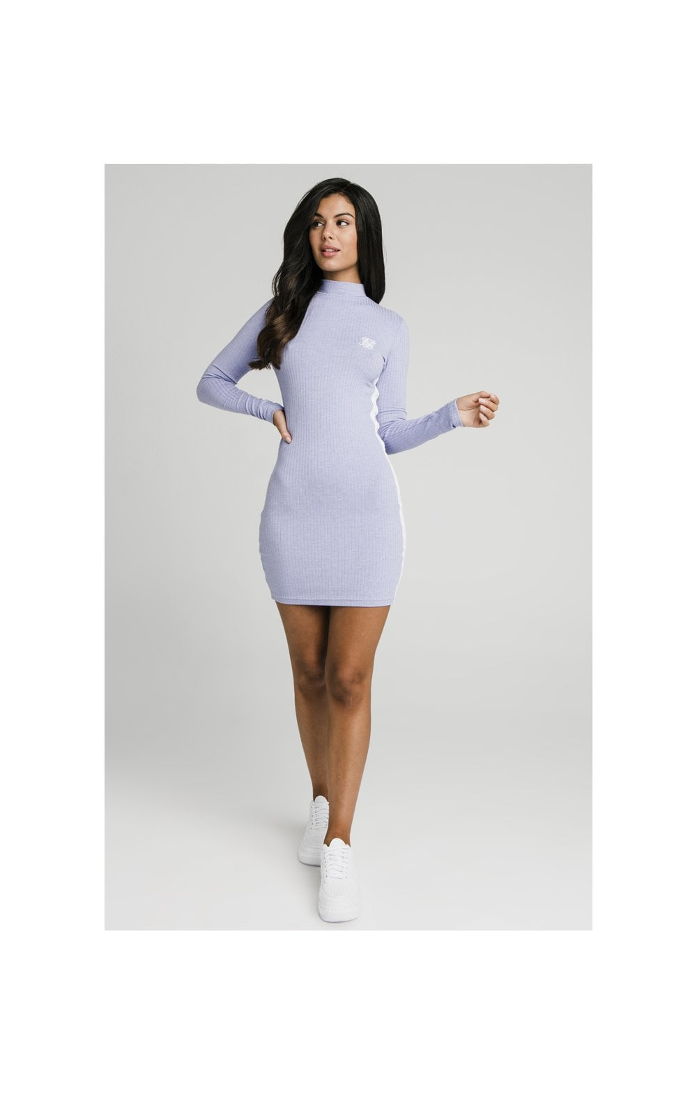 Load image into Gallery viewer, SikSilk Violet Rib Bodycon Dress - Violet (3)