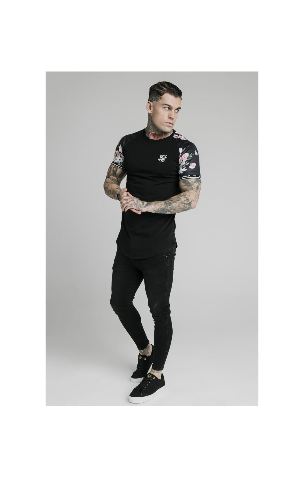 Load image into Gallery viewer, SikSilk S/S Prestige Floral Inset Tech Tee - Black (3)