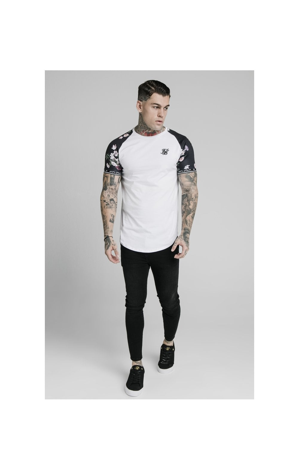 SikSilk S/S Prestige Floral Inset Tech Tee - White (1)