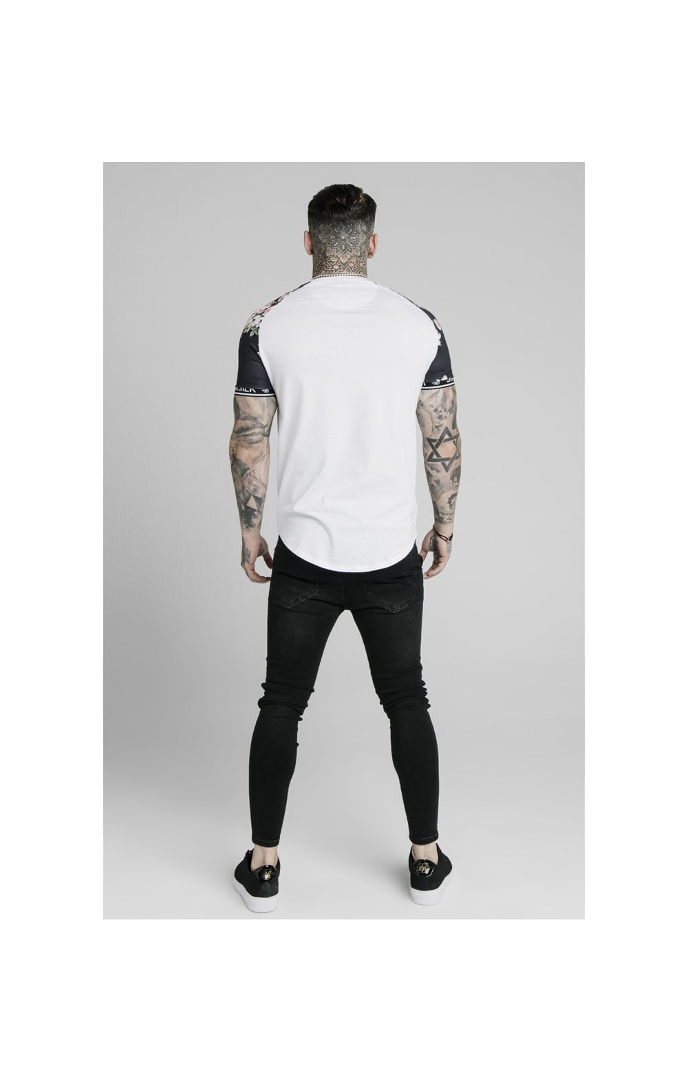 SikSilk S/S Prestige Floral Inset Tech Tee - White (4)