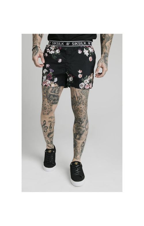 SikSilk Prestige Floral Swim Shorts - Black