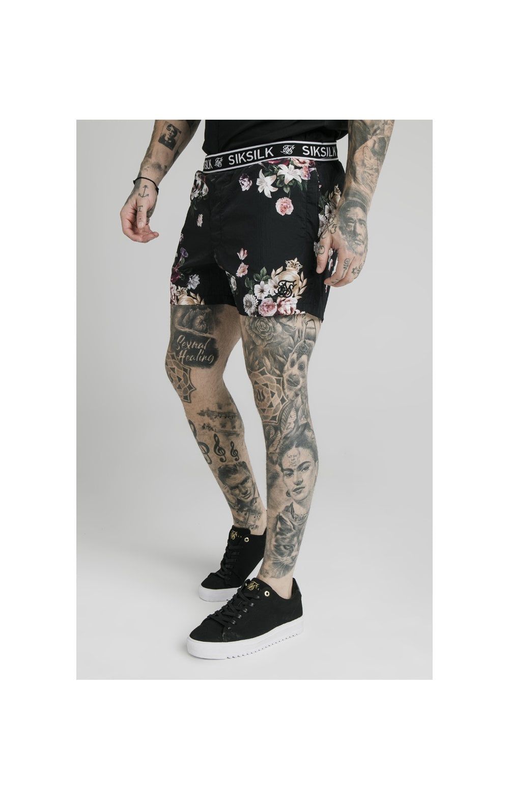 SikSilk Prestige Floral Swim Shorts - Black (2)