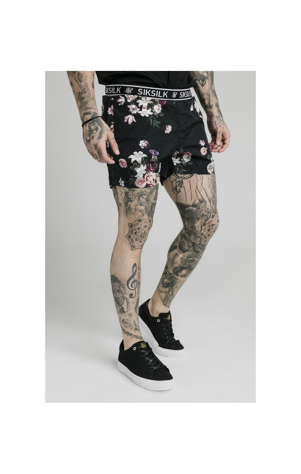 Load image into Gallery viewer, SikSilk Prestige Floral Swim Shorts - Black (3)