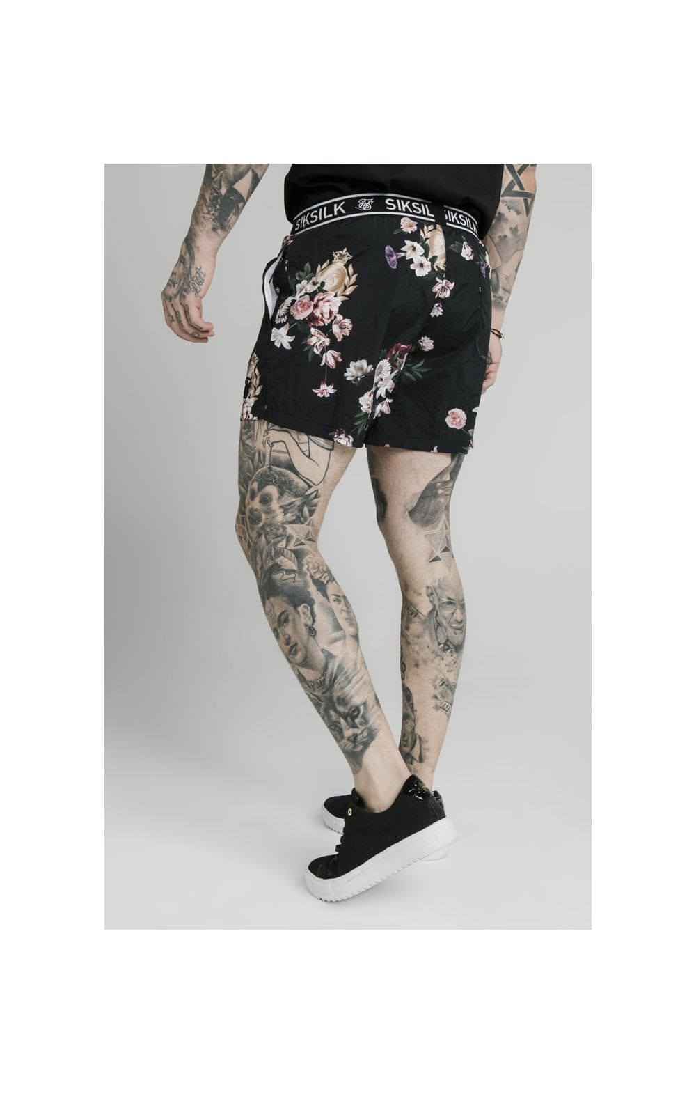 SikSilk Prestige Floral Swim Shorts - Black (4)