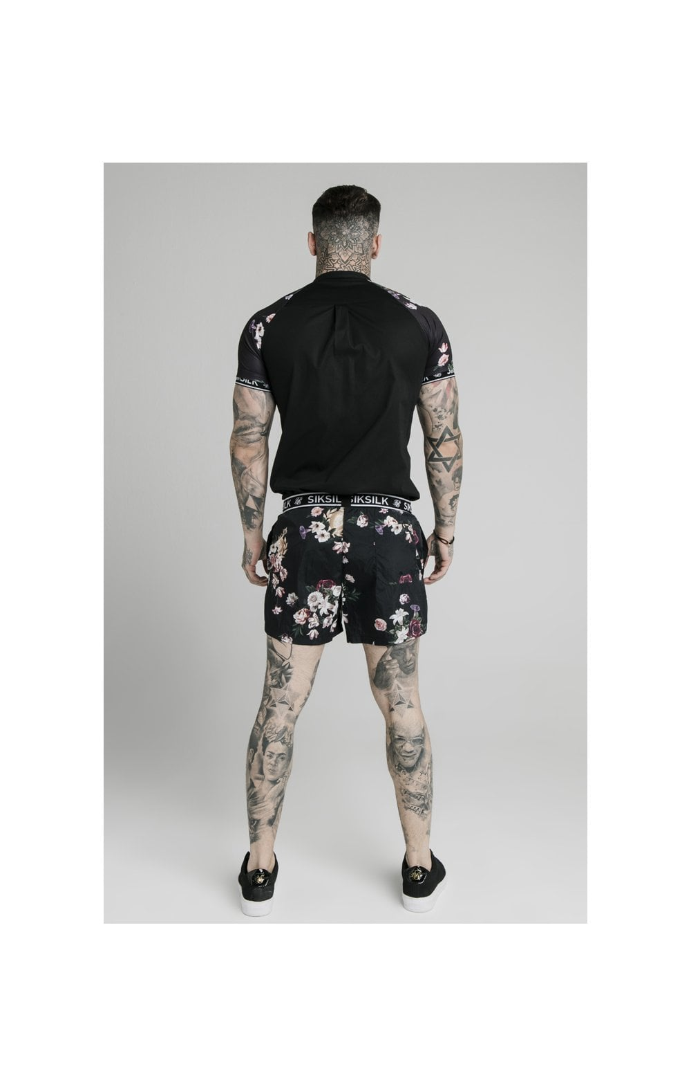 SikSilk Prestige Floral Swim Shorts - Black (6)